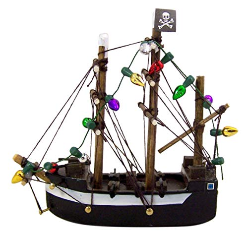 Pirate Ship with Lights Hanging Wooden Christmas Tree Ornament, 3 3/4 Inch