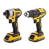Dewalt DCK2059D2T-GB Impact and Drill Driver, 18 V, Yellow, Set of 2 Pieces