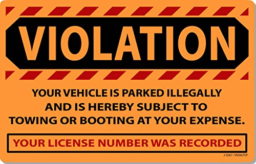 """25 Orange Fluorescent Violation Illegally Parked Tow Towing Auto Car Sign Stickers 8"""" X 5"""""""