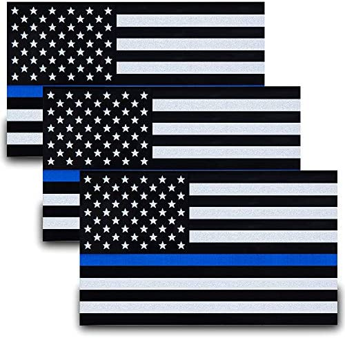 SBB Besby 3pcs Reflective US Flag Stickers Thin Blue Line American Flag Decal Car Laptop Bumer product image