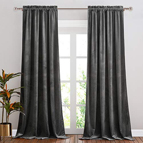 NICETOWN Grey Velvet Curtains 84 inches, Sound Reducing Heavy Matt Solid Rod Pocket Room Darkening Drapes/Panels for Living Room (2 Panel Per Pack, 84 inches Long)