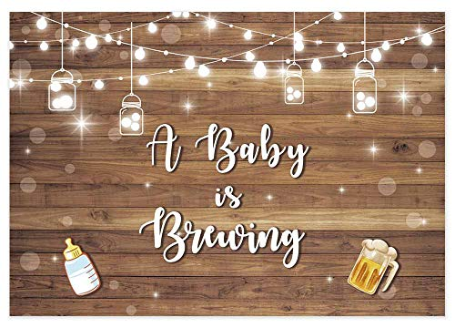 Allenjoy 7x5ft Baby is Brewing Baby Shower Backdrop Beer Party Banner Glitter Rustic Wood Board Baby Shower Photography Background Photo Booth Props
