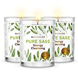 Magnificent101 Pure Sage Smudge Set of 3 Candles for House Energy Cleansing, Banish