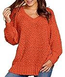 KIRUNDO Women's Winter Fuzzy Popcorn Sweater V Neck Long Sleeves Loose Fit Sweatshirt Solid Tops Pullover (Small, Orange)