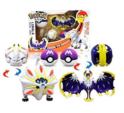 Klycbds 2 Stück / Sätze Pokemon Figur Zeichensatz, Pokemon Spielzeug Solgaleo Lunala Modell 6-8Cm Kindergeschenkspielzeug
