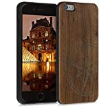 kwmobile Funda Compatible con Apple iPhone 6 Plus / 6S Plus - Funda de Madera de Nogal Aguja magnética marrón Oscuro
