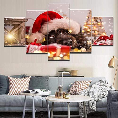 rkmaster-Modern Frame 5 panelen hond canvas muurschildering met kerstmuts landschapsschilderij canvas schilderij moderne woonkamer decoratie | schilderij