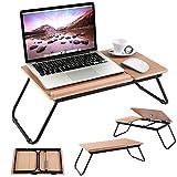 Costway Table de Lit Pliable Table Portable pour Ordinateur Angle Ajustable en 4 Positions - Fait en MDF et Métal - Idéal pour Lecture, Travail, Petit Déjeuner 55x32x23cm