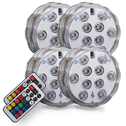 B.K.Licht I 4er Set LED Dekolicht I Batterie betrieben I Beetbleuchtung I Pflanzenlicht I inkl. Fernbedienung I RGB und Wasserdicht