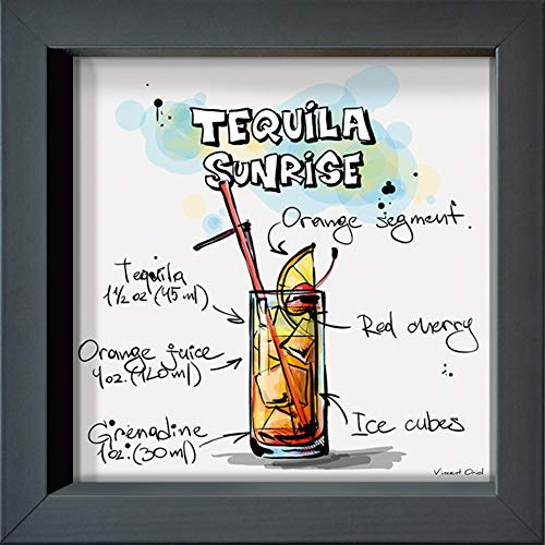 International Graphics Ingelijste briefkaart - Oriol, Vincent - ''Tequila Sunrise'' - 16 x 16 cm - antracietkleurige lijst