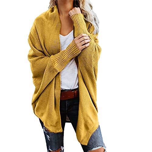 iHENGH Damen Winter Warm Bequem Mantel Lässig Mode Frauen Womens aus der Schulter Pullover lässig gestrickte lose Lange Ärmel Jacke (Gelb,S)