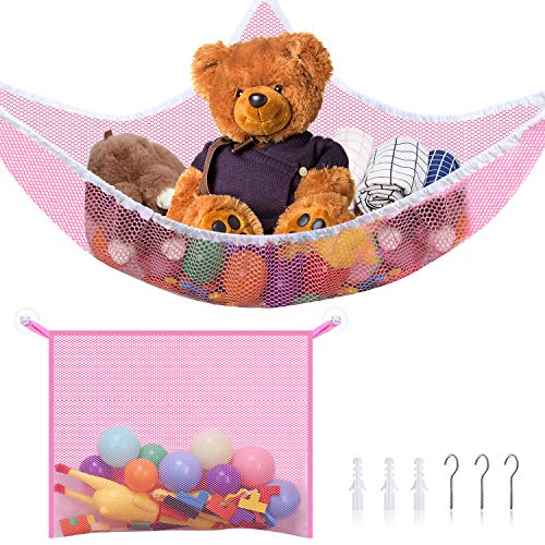 2 Pieces Small Toy Organizer Storage Net Kit Includes Toy Hammock Stuffed Animal Storage and Mesh Bath Toy Organizer Holder with Installation Tool, Mesh Net Storage Bag for Organizing Kids' Toys