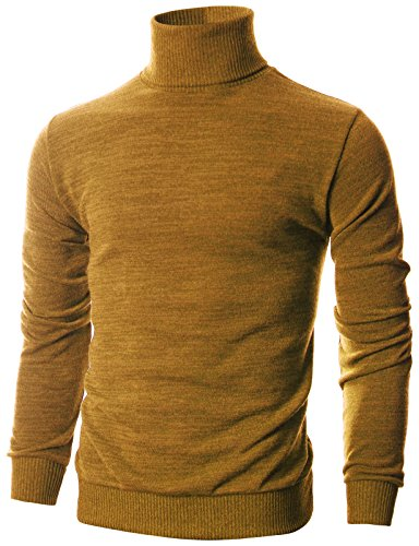 OHOO Mens Slim Fit Long Sleeve Turtleneck Mixed Ribbed Hem Pullover Sweater/DCP024-MUSTARD-3XL