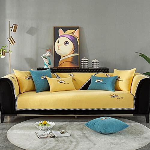 Fundas Sofa Chaise Longue Cubre Sofa Acolchado Fundas para Sofa sin Antideslizante Bordado de Chenille, Antideslizante,-90x70cm (35x28 Pulgadas)_Amarillo-Vendido en Pedazos