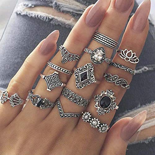 Flrora Vintage Crystal Ring Set Silver Sunflower Finger Rings Turquoise Carved Rings Trendy Stackanle Ring Jewelry Accessories for Women and Girls (15 pcs)