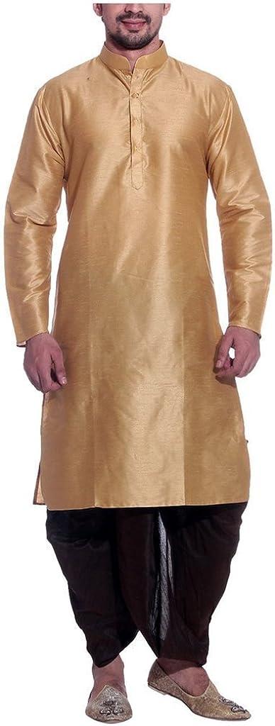 Royal Men's Silk Blend Dhoti & Kurta Set_Dark Gold