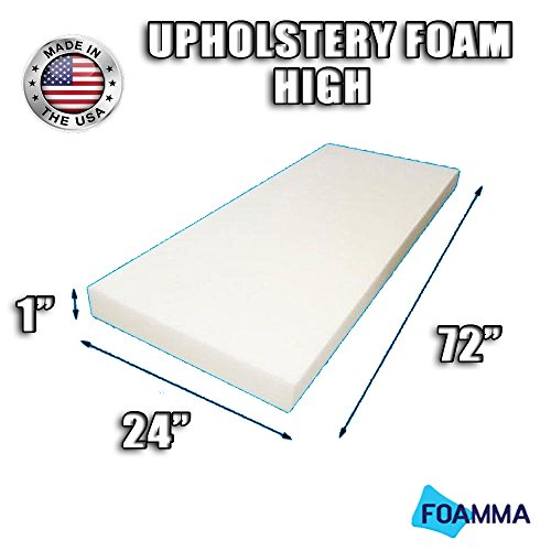 FOAMMA High Density Upholstery Foam Cushion (Seat Replacement , Upholstery Sheet , Foam Padding) Fast! Made in USA!! (1' x 24' x 72')