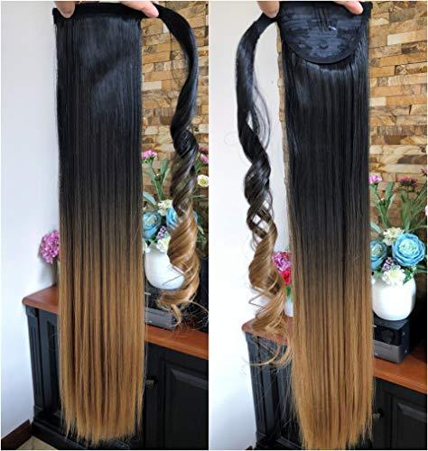 22' Long Straight Ombre Dip Dyed Clip in Wrap around Ponytail Hair Extensions Hairpieces(22' Straight- Natural black to honey blonde)