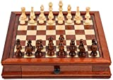 WUYAOCHUN Chess Set Board Game Folding Travel Portable Chess Classic Game Chess Solid Wood Magnetic Collection with Deluxe Wood Board and Storage Inlaid at The Bottom of The Chess Portable Chess DG59