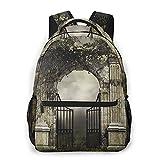 Kanxdecor Lässiger Rucksack,Dunkle Landschaft mit einem gotischen Gartent,Travel Bookbag With Zipper,For Business, School, Work, Laptop Bookbag 16'X11.5'X8'