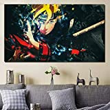 YuanMinglu Dibujos Animados Manga Ninja Negro Papel Pintado Lienzo Fondo Pintura impresión Sala decoración Moderno hogar Pared Arte Cartel sin Marco Pintura 45x78cm