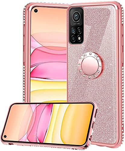 Funda para Xiaomi Mi 10T 5G/ Mi 10T Pro 5G, Glitter Brillante Diamante Carcasa Soporte Magnético de 360 Grados Anillo Giratorio Slim Suave Silicona Gel TPU Anti-Choques Protectora Carcasa - Oro Rosa
