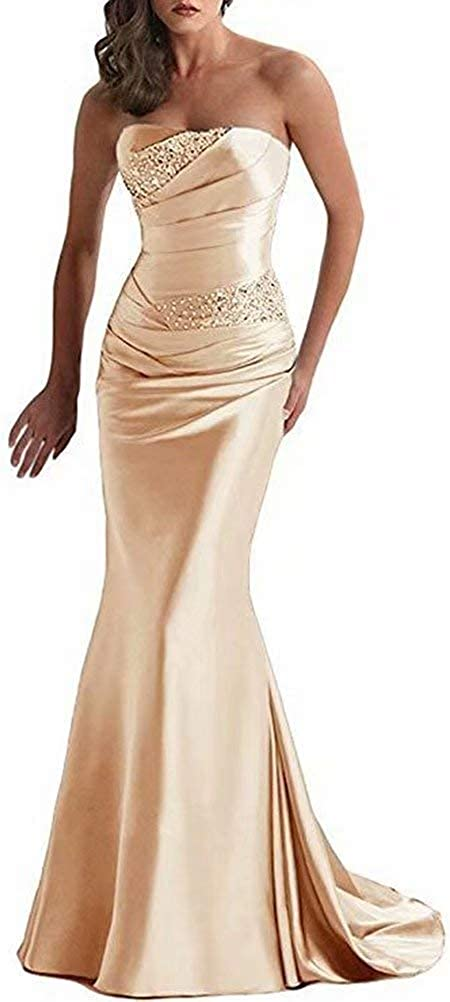 Seasail 2021 New Party Strapless Long Slim Evening Dress Elegant Sleeveless Wedding Dresses
