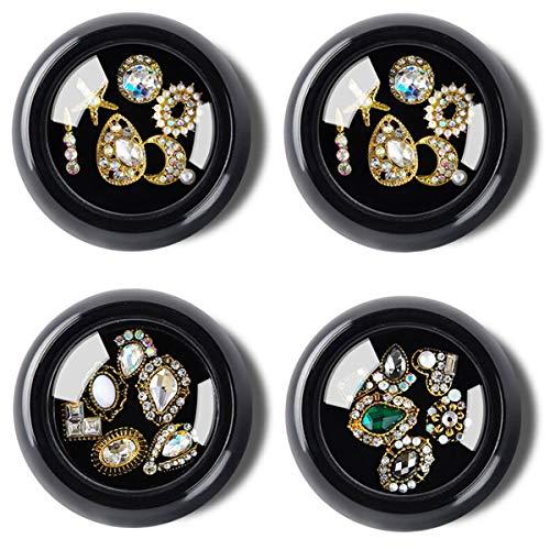Lot de 4 boîtes de strass 3D à dos plat pour nail art, décoration d'ongles, bricolage, bijoux, maquillage