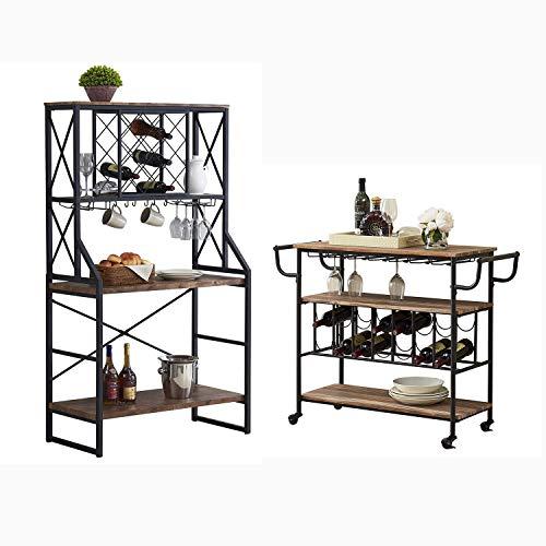 HOMYSHOPY Industrial Bar Cart and Wine Bakers Rack, Vintage Brown