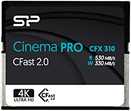 Silicon Power 256GB CFast2.0 CinemaPro CFX310 Memory Card, 3500X and up to 530MB/s Read, MLC, for Blackmagic URSA Mini, Ca...