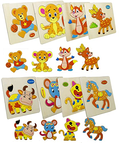 Wishmaster Wooden Puzzles for Kids Ages 2-4 Toddler Puzzles Ages 1-3 Years Old Montessori Shape Toys Pack Of 8 for Kids| Children's Wood Game for Learning Animals - Gift Toys for Boys and Girls |Kids Baby Brain Development Children's Day Gift| Kids 1 2 3 Years Old Preschool Educational Toys for Boys and Girls Ages 1-3 (2 Combo (Type 5- Type 6))