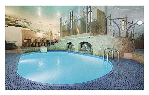 ABAKUHAUS Pool Doormat, Spa Resort Relaxing, Decorative Polyester Floor Mat with Non-Skid Backing, 18' x 30', Blue Aqua Beige