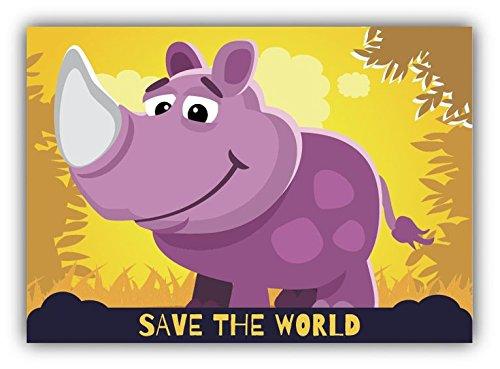 Save The World Rhino Cartoon Animal Greenpeace Slogan Vinyl Decal Bumper Sticker