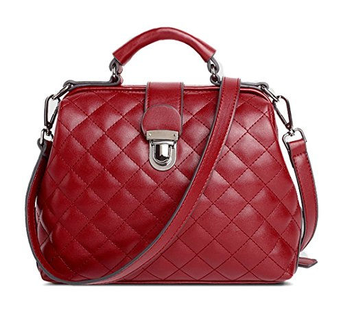 Mn&Sue Women Top Handle Satchel Diamond Quilted Handbag Crossbody Bag Shoulder Purse Doctor Style WINE RED