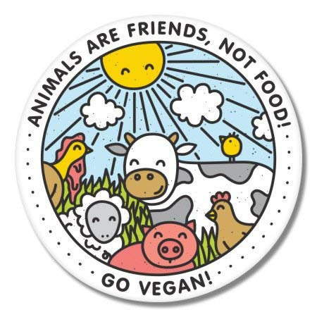 Go Vegan Happy Animals Vinyl Sticker - Car Phone Helmet - 6-Inch