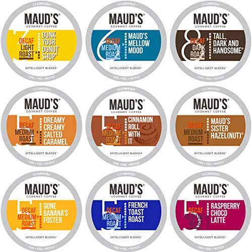 Maud's Decaf Coffee Variety Pack, 80ct. Recyclable Single Serve Decaf Coffee Pods - 100% Arabica Coffee California Roasted, Keurig Decaf KCups Variety Pack Compatible Including 2.0