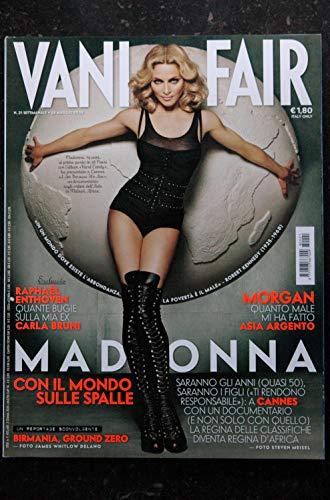 VANITY FAIR ITALY 21 SETTIMANALE 28 MAGGIO 2008 COVER MADONNA CON IL MONDO SULLE SPALLE