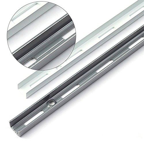 PRIOstahl® WANDSCHIENEN für REGALTRÄGER | 2 x SCHIENEN | 2-reihig | 2000 mm | Weiß | Regalhalter Wandregal Regalbodenträger Regal Regalwinkel