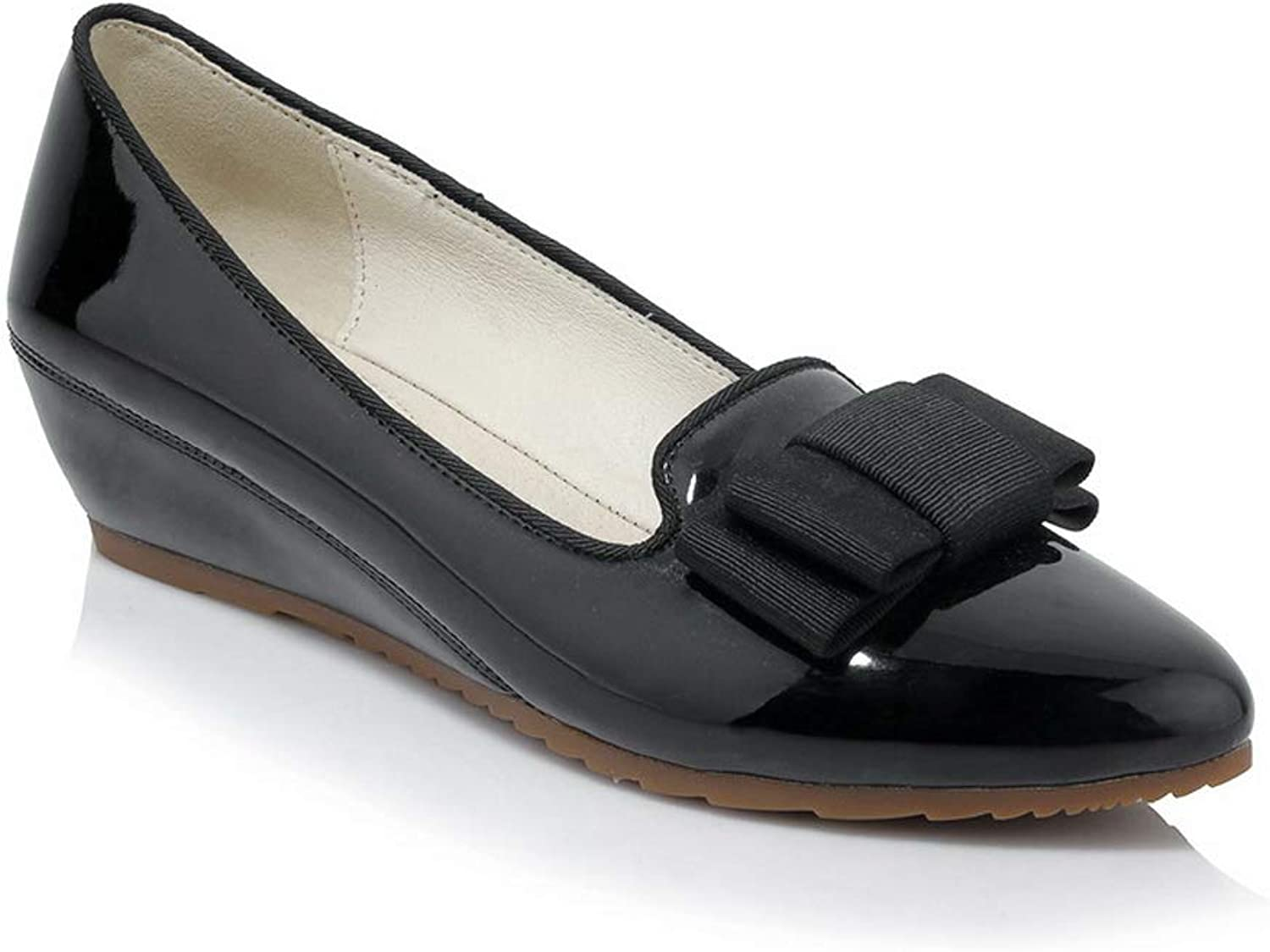 AN Womens Wedges Pointed-Toe Patent-Leather Pumps shoes DGU00735