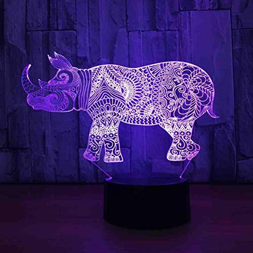 RJGOPL 3D Visual 7 kleurrijke gradient dier strakke vorm LED nachtlampje voor kinderen touchscreen USB tafellamp baby slaaplicht