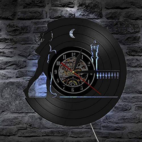 Deporte Ejecución de Vinilo Record Reloj de Pared Decoración de Pared Percha Para Correr En Casa En La Noche Reloj de Correr Mujer Regalo Para Corredor
