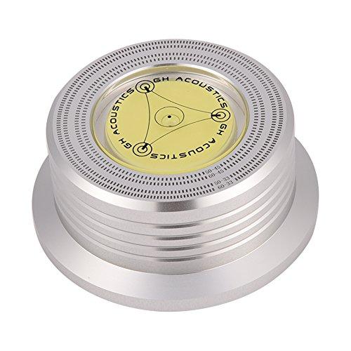 Mugast platenspeler disc stabilizer record gewicht, 50/60Hz zeer nauwkeurige waterpas geluidsplaten opleggewicht, aluminium LP vinyl disc record stabilisator klem platenstabilisator, zilver.
