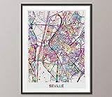 Sevilla Karte, Sevilla Aquarelldruck, Sevilla