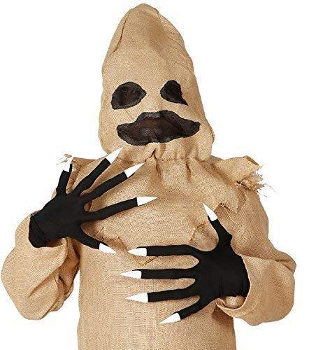 Uomo Donna Black Witch Voodoo Bambola Halloween Orrore Spaventoso Costume Vestito Accessorio Guanti