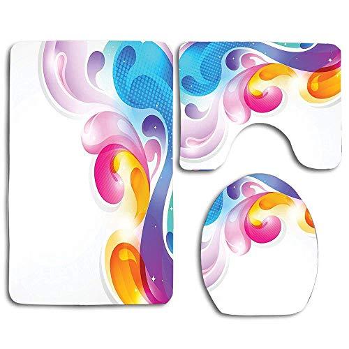 N\A Abstrakte Kunst Splash Drops mit Computer Digital Concept Pinsel-Effekt Badteppich Set 3PCS rutschfeste Badezimmerteppich Kontur, Matte und Toilettendeckel Abdeckung