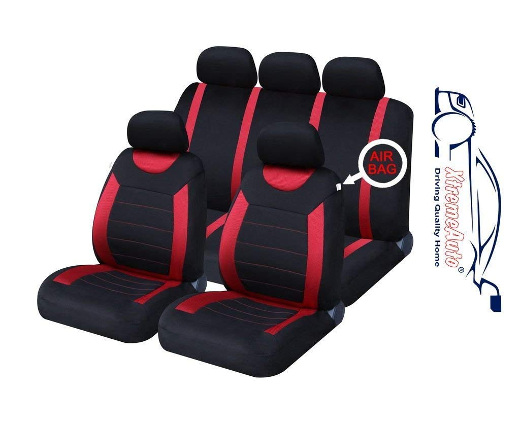 4PCE UNIVERSAL CAR FLOOR MATS BLACK WITH RED TRIM FOR NISSAN MICRA /& NOTE