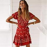Deli VestidoCorto conEstampado Floral Rojo Vestido DeManga Corta con Cuello En VVestido DeVerano Boho Chic Hippie De Playa Vestido Corto