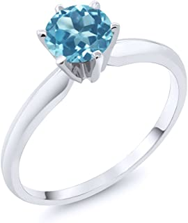 Gem Stone King 14K White Gold Swiss Blue Topaz Engagement Solitaire Ring 0.90 Gemstone Birthstone (Available 5,6,7,8,9)