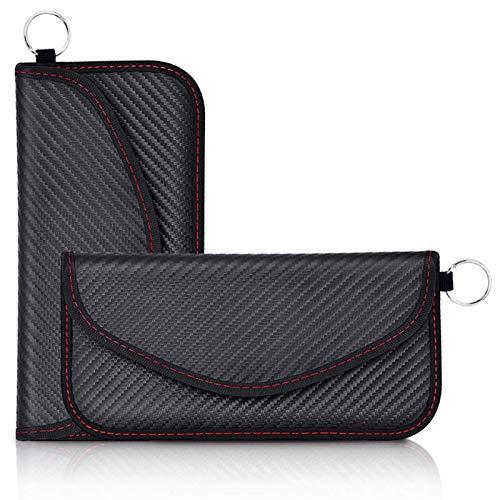 2PCS Funda Faraday Móvil para Teléfono y Llave Coche, Bolsa Faraday Bloqueador Jaula Faraday Portatil, Bolsa Blindaje Senal RFID Proteger Privacidad Móvil (Fibra de Carbono)