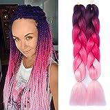 Ombre Braiding Hair Kanekalon Synthetic Braiding Hair Extensions 5 packs/lot 24inch Jumbo Braiding Hair Purple-Peach Red-Light Pink